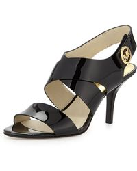 MICHAEL Michael Kors Joselle Patent Leather Sandal - Lyst