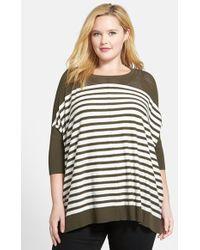 Sejour Mesh Yoke Stripe Pullover Sweater - Lyst