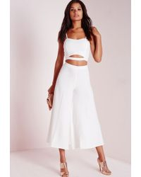 Missguided Crepe Wide Leg Culottes White