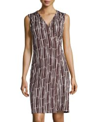 Diane Von Furstenberg Sleeveless Printed Wrap Dress - Lyst