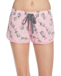 Cozy Zoe Printed Jersey Sleep Shorts - Pink