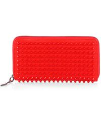 Christian Louboutin Panettone Spiked Zip Wallet red - Lyst