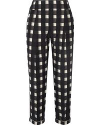 Temperley London Checked Cotton Tapered Pants - Lyst