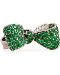 Mimi So - Bow Large 18k Gold Emerald Diamond Ring Size 6 - Lyst
