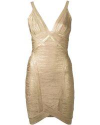 Hervé Léger Metallic Fitted Dress - Lyst