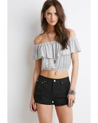 Forever 21 Striped Off-The-Shoulder Top - Lyst