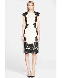 Lela Rose Guipure Lace Applique Sheath Dress - Lyst