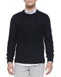 Theory Emanuel Cable Crew Sweater - Lyst