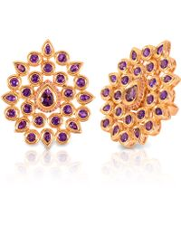 Vara Of London The Gold Fleur De Chine Ring - Purple