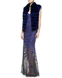 Oscar de la Renta Chinchilla Fur Vest Strapless Beaded Embroidered Mermaid Gown - Lyst