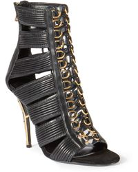Balmain Hope Metal Striped-Heel Lace-Up Leather Sandals black - Lyst