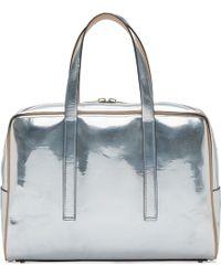 Calvin Klein Silver Metallic Leather Briefcase silver - Lyst