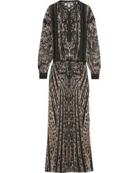 Roberto Cavalli Embroidered Leopardprint Silkchiffon Maxi Dress - Lyst