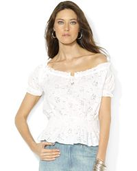 Lauren by Ralph Lauren Lauren Jeans Co Offtheshoulder Smocked Eyelet Peasant Top - Lyst
