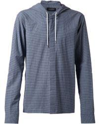 Kris Van Assche Blue Hooded Shirt - Lyst