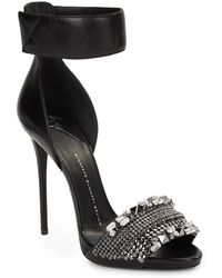 Giuseppe Zanotti Embellished Leather Ankle Cuff Sandals - Lyst