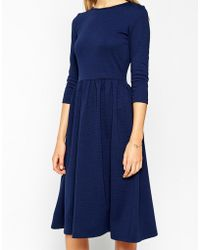 Asos Midi Skater Dress In Texture With 3/4 Sleeves - Lyst