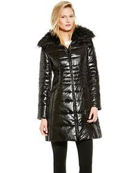 Vince Camuto Down Coat with Faux Fur Collar - Lyst
