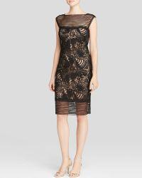 Tadashi Shoji Dress - Illusion Detail Lace Motif - Black