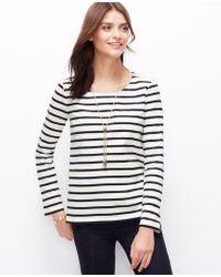 Ann Taylor Petite Stripe Shoulder Zip Cotton Top - Lyst