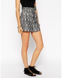 ASOS Shorts With Paperbag Waist In Aztec Jacquard Co-ord - Gray
