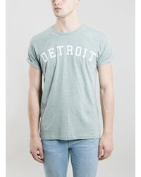 Topman Green Detroit Print T-Shirt - Lyst