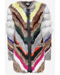 Elizabeth And James Tarra Multi Color Rabbit Fur Zip Jacket - Lyst