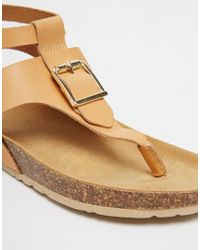 Asos Fimble Footbed Toe Post Leather Sandals - Lyst