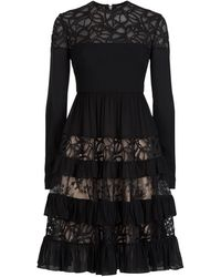 Elie Saab | Long Sleeve Tiered Dress | Lyst