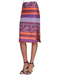 Suno Brushed Berries-print Pencil Skirt with Piped Hem - Lyst