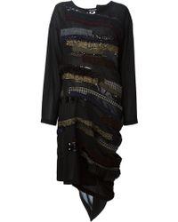 Junya Watanabe Apliqué Asymmetric Hem Dress - Lyst