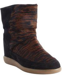 Isabel Marant Fauve Tiger Print Calf Hair Norwood Wedge Boots - Lyst