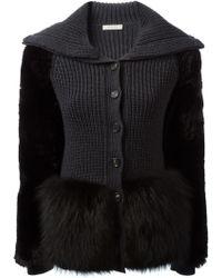 Nina Ricci Fox Fur Panelled Cardigan - Lyst