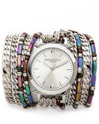 Sara Designs   Stone & Chain Wrap Watch - Silver Multi   Lyst