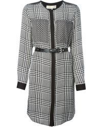 MICHAEL Michael Kors Houndstooth Print Belted Dress - Lyst