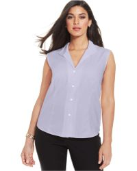 Jones New York Collection Plus Size Easy Care Sleeveless Shirt - Lyst