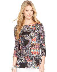 Ralph Lauren Paisley Boatneck Sweater - Lyst