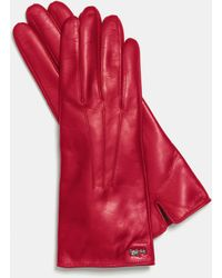 COACH Leather Basic Glove - Red
