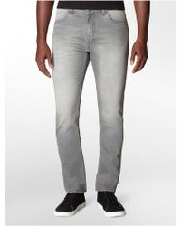 Calvin Klein Tapered Marine Grey Wash Jeans - Lyst