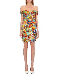 Moschino Cereal Print Silk Dress Multi - Lyst