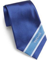 Versace Logo Striped Silk Tie - Lyst