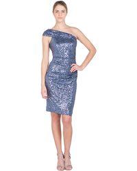 Badgley Mischka Off-Shoulder Sequin Cocktail Dress - Lyst