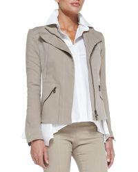 Donna Karan New York Stretch Denim Zip Jacket - Lyst
