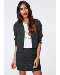 Missguided Salli Textured Cropped Curve Blazer Black - Lyst
