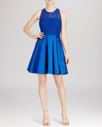 Karen Millen Bold Colorful Lace Panel Dress - Bloomingdale'S Exclusive blue - Lyst
