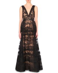 Elie Saab Plunge-Neck Lace Gown - For Women - Lyst