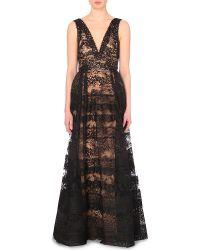 Elie Saab Plunge-Neck Lace Gown - For Women black - Lyst