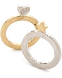 Marc By Marc Jacobs Flat Star Heart Ring Set Mixed Metals - Metallic