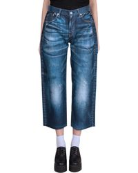 Junya Watanabe Over-Sized Pants With Denim Print blue - Lyst