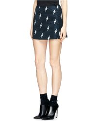 Neil Barrett Lightning Bolt Print Satin Mini Skirt - Black